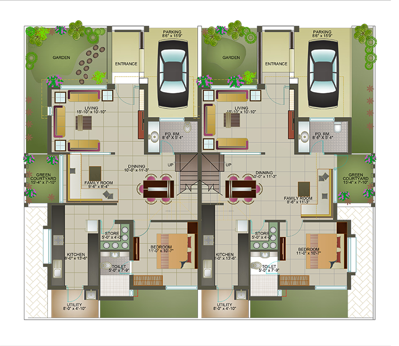 House plan for 1200 sqft land for 1500 sq ft duplex house plans